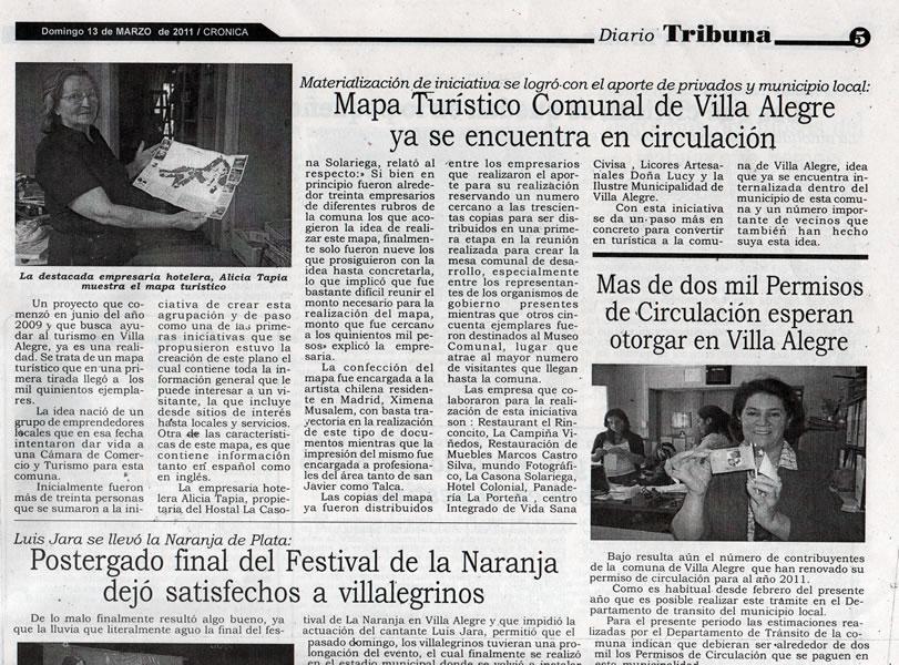 Diario Tribuna. cobertura del Mapa Turístico de Villa Alegre