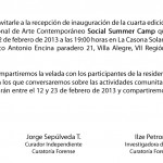 SOCIAL SUMMER CAMP IV - invitacion recepcion febrero 2013